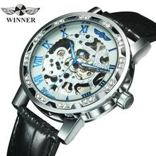 WINNER Official Fashion Mechanical Women Watches Top Brand Luxury Diamond Decoration Skeleton Dial Elegant Ladies Wristwatch