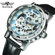 Часы скелетоны WINNER женские механические, брендовые Роскошные элегантные наручные, с украшением в виде страз