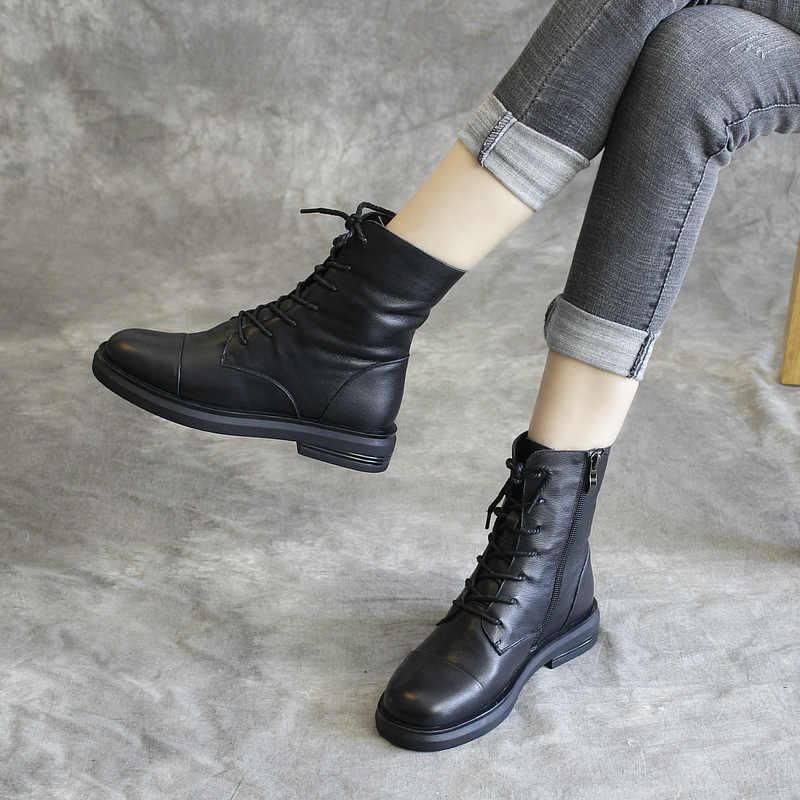 Genuine Leather Women Boots Black