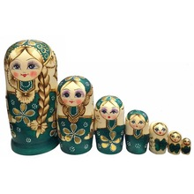 7Pcs/Set Braided Hair Girl Wooden Russian Nesting Dolls Matryoshka Toy Kids Gift