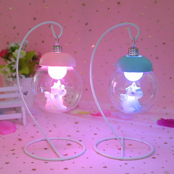 Resin Unicorn Night Light LED Novetly Lamp Cartoon Animal BedsideBedroom Decorative Lights Toy Christmas Birthday Gift For Kids