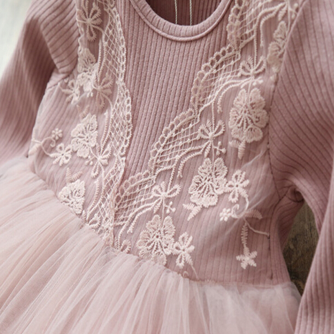 Autumn Lace Cotton Long Sleeve Girls Formal Dress Princess little Girls Flower Embroidery Dresses Kids Party Ball Gown Clothing 4