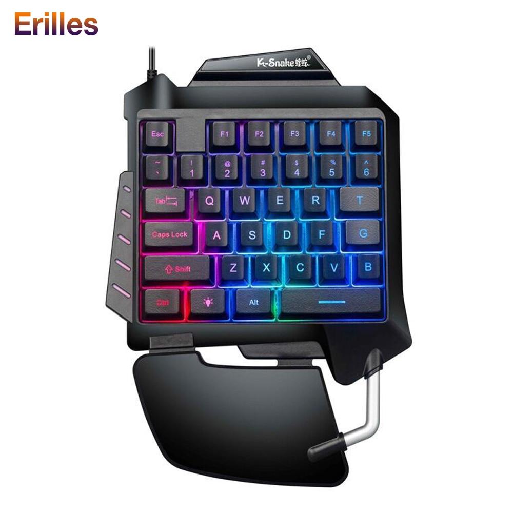 USB Mechanical Keyboard Back Led Light Mini One-hand Keycap Gaming Ergonomic Backlit Keyboard For For PC PS4 Xbox Gamer