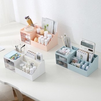 Multifunctional cosmetic storage box desktop partition with drawer plastic jewelry stationery finishing papelaria