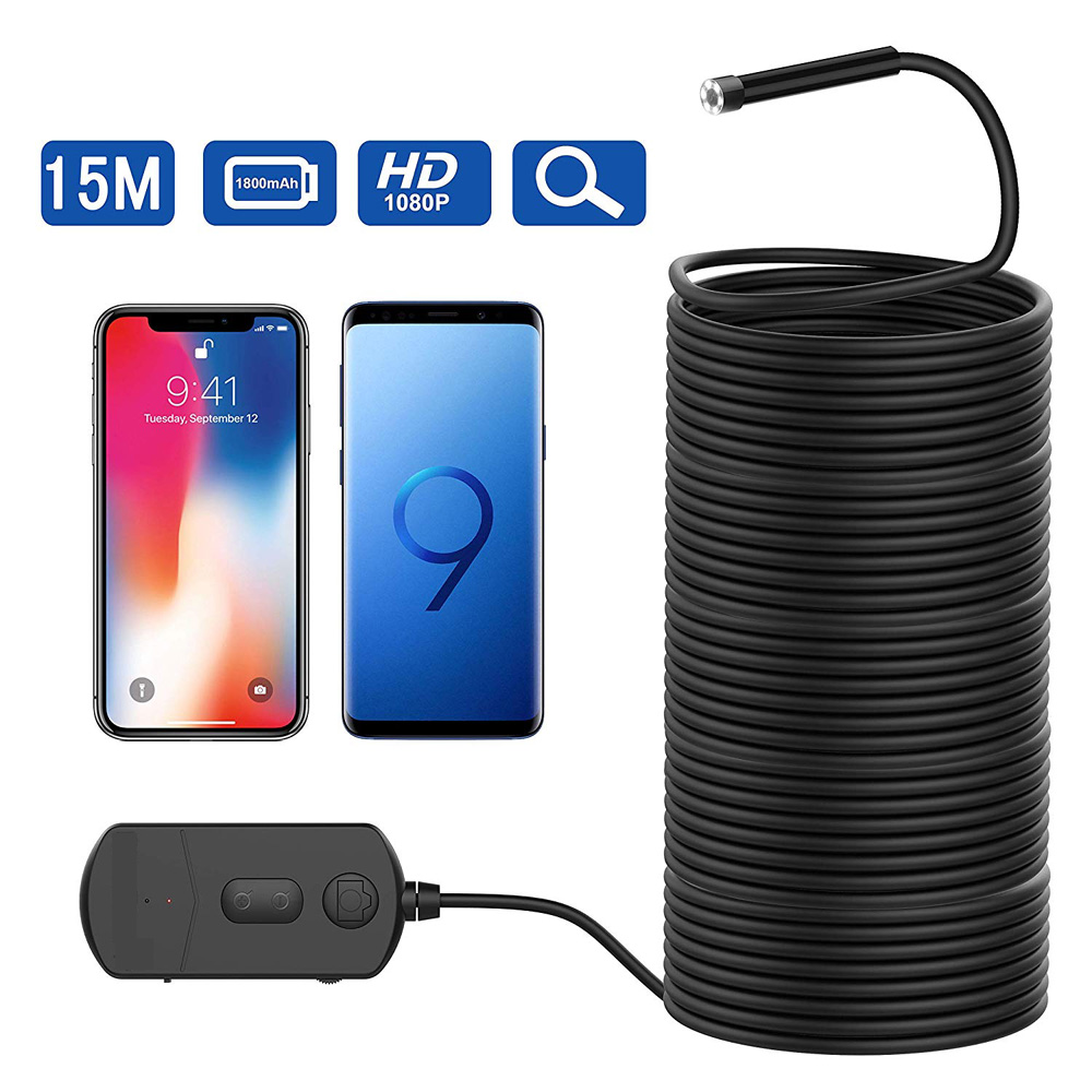 15M câble Super Long 1080P Semi-rigide caméra d'inspection 2 MP HD WiFi Endoscope sans fil Endoscope avec mise au point Zoomable PQ301