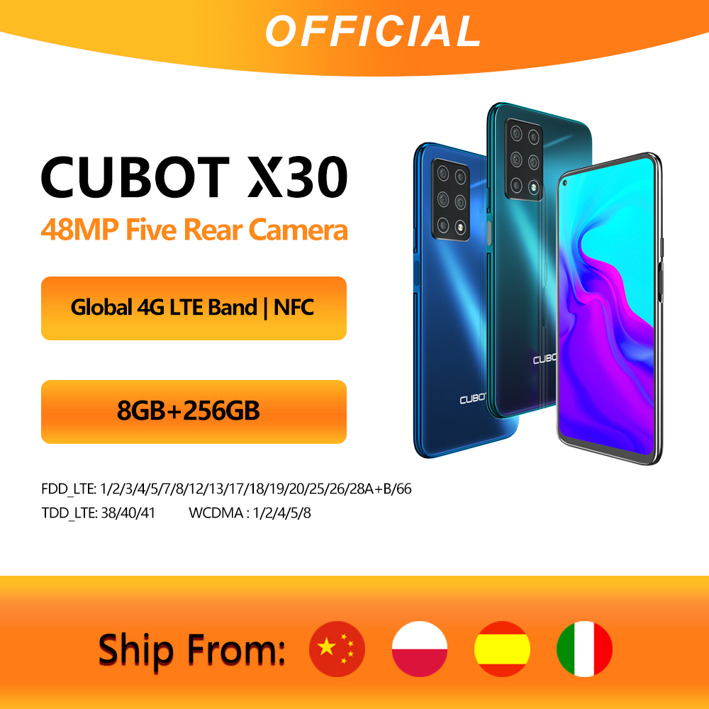 """Cubot X30 Smartphone 48MP Five Camera 32MP Selfie 8GB+256GB NFC 6.4"""" FHD+ Fullview Display Android 10 Global Version Helio P60(China)"""