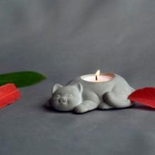 Bougeoir moules en béton pour bougeoirs en silicone, moules de Pot de plâtre, chat et fleurs