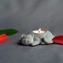 Moldes de hormigón para candelabro, moldes de silicona para portavelas, moldes de yeso para maceta de gato