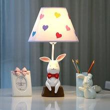 Modern lovely rabbit table lamp creative Resin LED desk light for living room child bedroom bedside lamp study indoor light e27