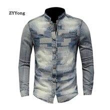 ZYYong Stand Collar Long Sleeve Patch Men's Denim Shirt Blue Personality Plaid Casual Men's Shirt Men's Long Sleeve Thin Coat long sleeve patch design suede insert denim shirt