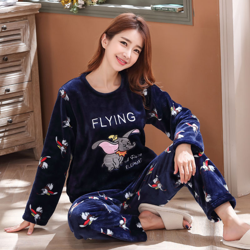 Long Sleeve Warm Flannel Pajamas Winter Women Pajama Sets Print Thicken Sleepwear Pyjamas Plus Size 3XL 4XL 5XL 85kg Nightwear