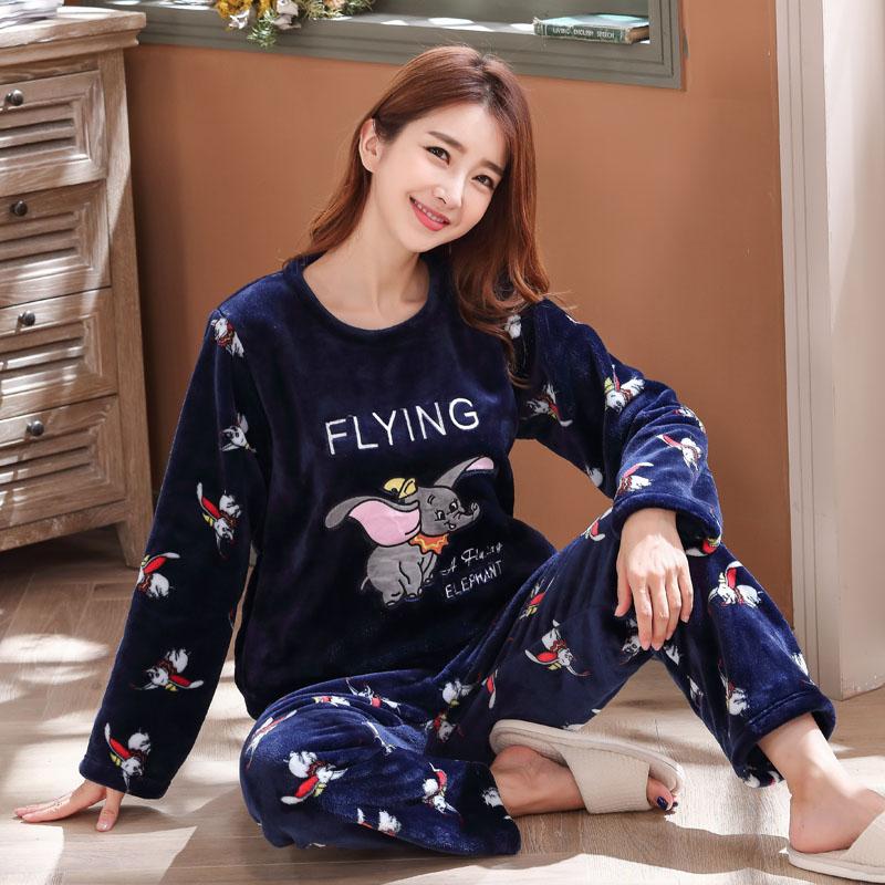 Long Sleeve Warm Flannel Pajamas Winter Women Pajama Sets Print Thicken Sleepwear Pyjamas Plus Size 3XL 4XL 5XL 85kg Nightwear