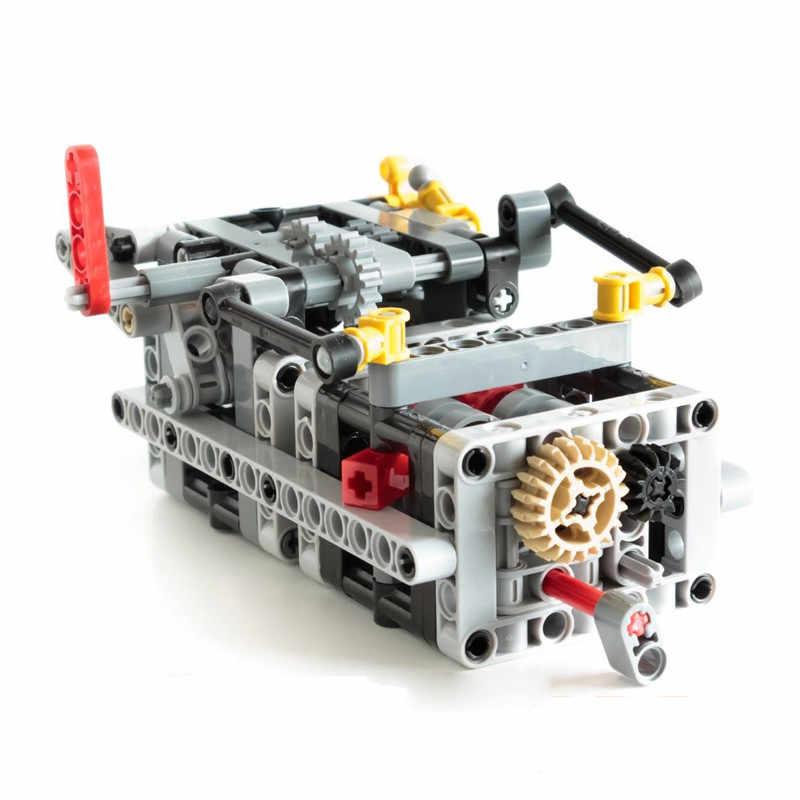 Teknik 8 Kecepatan Sequential Drive Gearbox Suspensi Depan Kemudi Mobil Chassis Sistem Blok Bangunan Kompatibel dengan Legoes