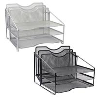 Mesh Desk Organizer File Folder Rack With 3 Paper Trays And 2 Vertical Upright Section, Desktop Document Letter Tray For Folders
