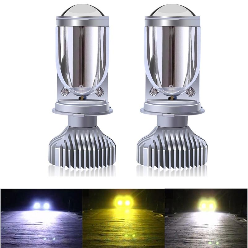 2 шт. H4 светодиодный подол короче спереди и длиннее сзади) Мини объектив проектора головной светильник четкий луч 12V 24V 3000k 4300K 6000K лампада h4 Ла...