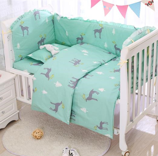 6/9PCS Elk Cot Bedding Set Jogo De Cama Toddler Bedroom Baby Bumper Boys Room Decor 120*60/120*70cm