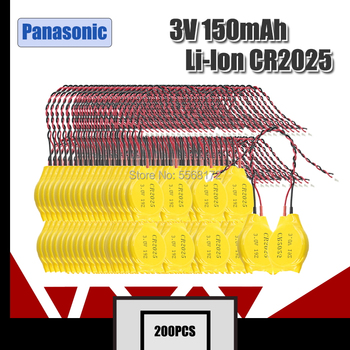 200pcs Original Panasonic CR2025 2025 with line BIOS coms Button Cell Battery lithium battery for Notebook motherboard