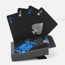 2boxes/set Quality PVC Poker Waterproof Black Plastic Playing Cards Gold Durable Poker Creative Gift Family/Party/Friends Game p цена в Москве и Питере