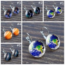 Galaxy Earring Jupiter Saturn Earth Silver Hook Space Astronomy Planet Birthday Gifts