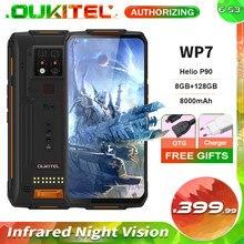 Oukitel wp7 8gb + 128gb 8000mah 6.53 infrared infrared câmera tripla infravermelha de visão noturna do telefone móvel 48mp octa núcleo áspero smartphone