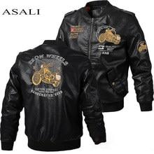 Erkek deri ceket Slim Fit ceket erkekler standı yaka jaqueta PU palto Biker ceketler rahat motosiklet Faux kürk S-5XL ceket polar