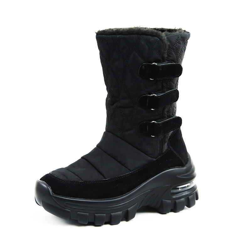 Hot Sale Women Winter Boots Warm Non-slip Waterproof Snow Boots Shoes Ladies Plush Med-calf Wedge Snow Boots Shoes High Quality image