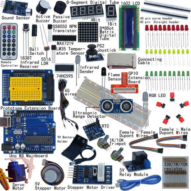 Ultimative Starter Kit für Arduino UNO R3 1602 LCD Servo Motor Breaddboard LED