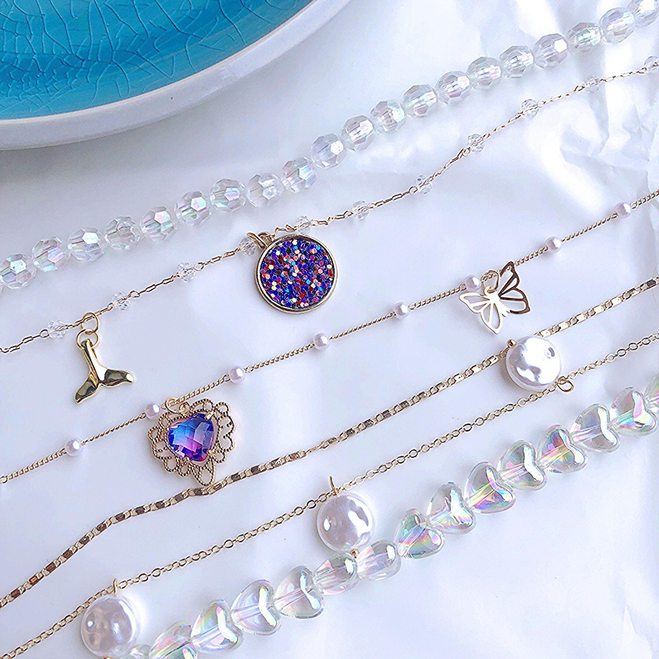 Ожерелье с фиолетовыми блестками и бабочкой Kpop, чокер любовь, красочные ювелирные изделия ручной работы, подарки