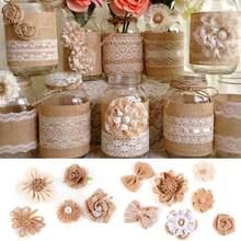 Fengrise artesanal juta hessian serapilheira flores vintage favor rústico decoração de casamento diy artesanato suprimentos capina decoração