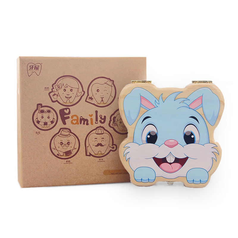 Smart Cute Rabbit Tooth Box Baby Souvenir Tooth Collection Box Birthday Gift Baby Tooth Box Wooden Toy Wholesale