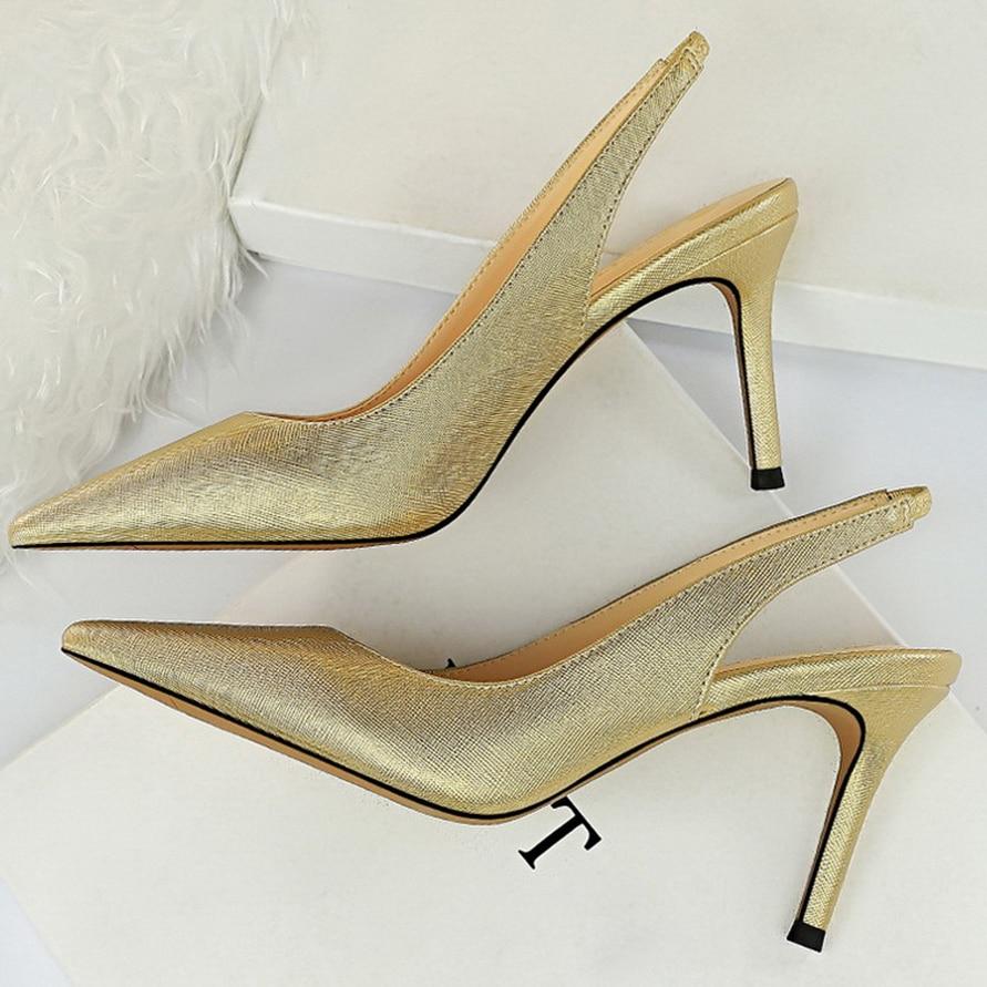 2020 New Women 8cm High Heels Tacons Pumps Plus Size 10.5 Luxury Lady White Slingback Shoes Low Heels Scarpins Gold Blue Pumps