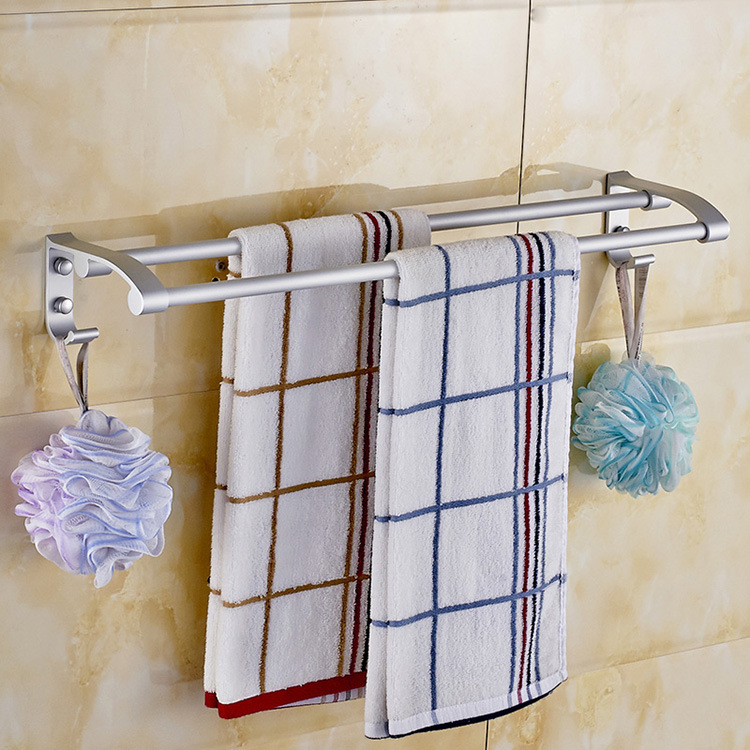 Alumimum Matte with Hook Double Poles Bathroom Towel Rack Bathroom Hook Unit Wholesale Manufacturers