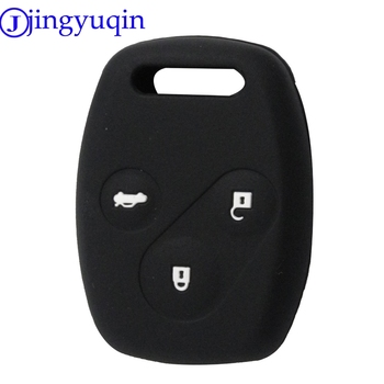 jingyuqin New50pcs Colorful Silicone Case Car Key Cover 3 Buttons For Honda Accord CR-V CRV Civic Pilot Odyssey Remote Key Shell