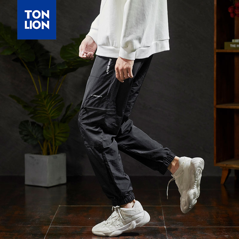 TONLION Black Cargo Pants Men Casual 2020 Spring Lightweight Trousers Men Elastic Waist with Side Pockets Loose Full Length Pant