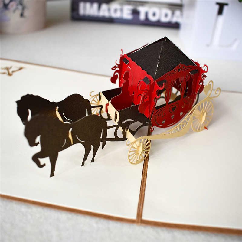 Tarjeta de cumpleaños de Pop-Up tarjetas de flores, coche de la tarjeta de regalo de la ducha de bebé de dibujos animados de tarjetas de felicitación, Tarjeta para los niños
