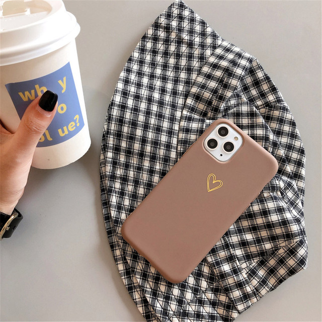 Gold Love Heart Phone Case for IPhone12 Pro Max XR 7 6 8 Plus Solid Color Cover for Iphone11promax Xs Max Soft TPU Mini Capa 5