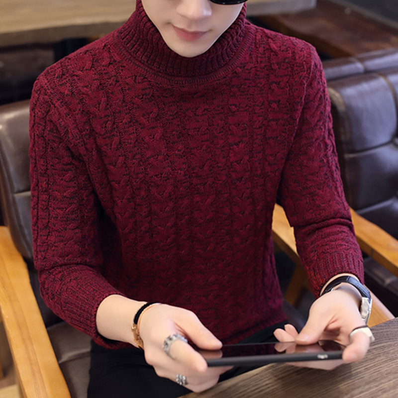 LEFT ROM 2019 Men's Turtleneck Solid Color Casual Sweater Autumn Winter Men's Sweater Man Slim Fit Brand Knitted Pullovers XXXL