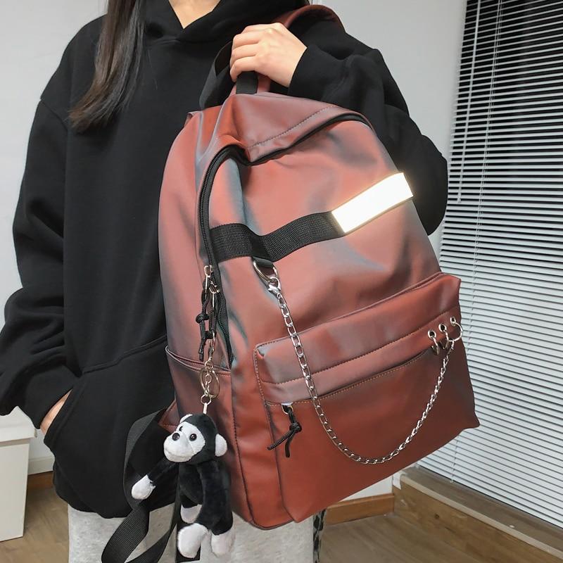 JULYCCINO New Buckle Chain Women Backpack Female Fashion Reflective Student Schoolbag Teenage Girls College Backpack Boy Mochila