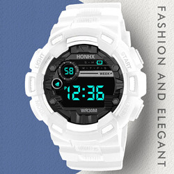 White Digital Led Watch Multifunction Alarm Electronic Clock Waterproof Simple Students Boys Stopwatch Luminous Watches Clocks