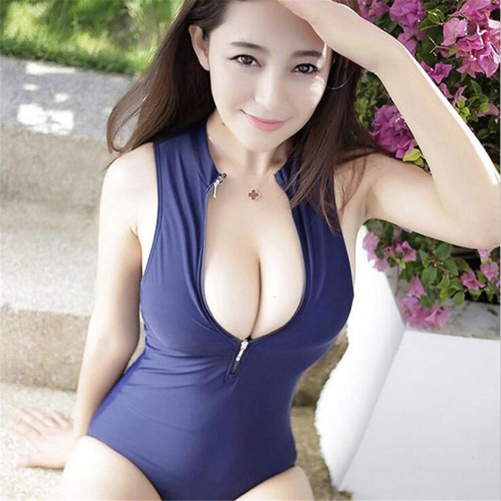 sexy bikini Japanese Tight fitting Front drive zipper Sun bath Swimming bikinis swimwear women one piece swimsuit biquini