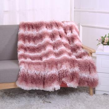 New Soft Stripe Long Shaggy Fuzzy Fur Faux Fur Warm Elegant Cozy with Fluffy Sherpa Throw Blanket Bed Sofa Blanket Plaids