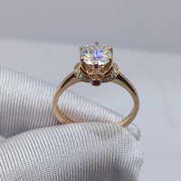 Pure 18K Rose Gold Ring Crown Diamond Ring Ruby jewelry Engagement Anniversary Ring 1ct 2ct 3ct Moissanite Ring AU750