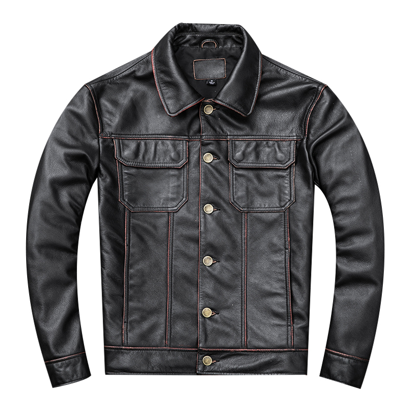 Free Shipping,2020 Style Handsome Leather Jacket.fashion Young Men Genuine Leather Coat.vintage Cowhide Jackets.short Slim