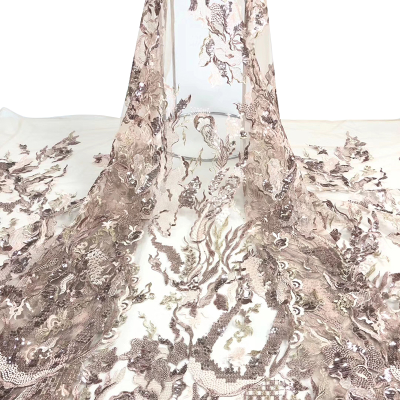 High Quality Nigeria Sequins Lace Fabrics With Beads African French Embroidered Tulle Mesh Lace Fabric Y582