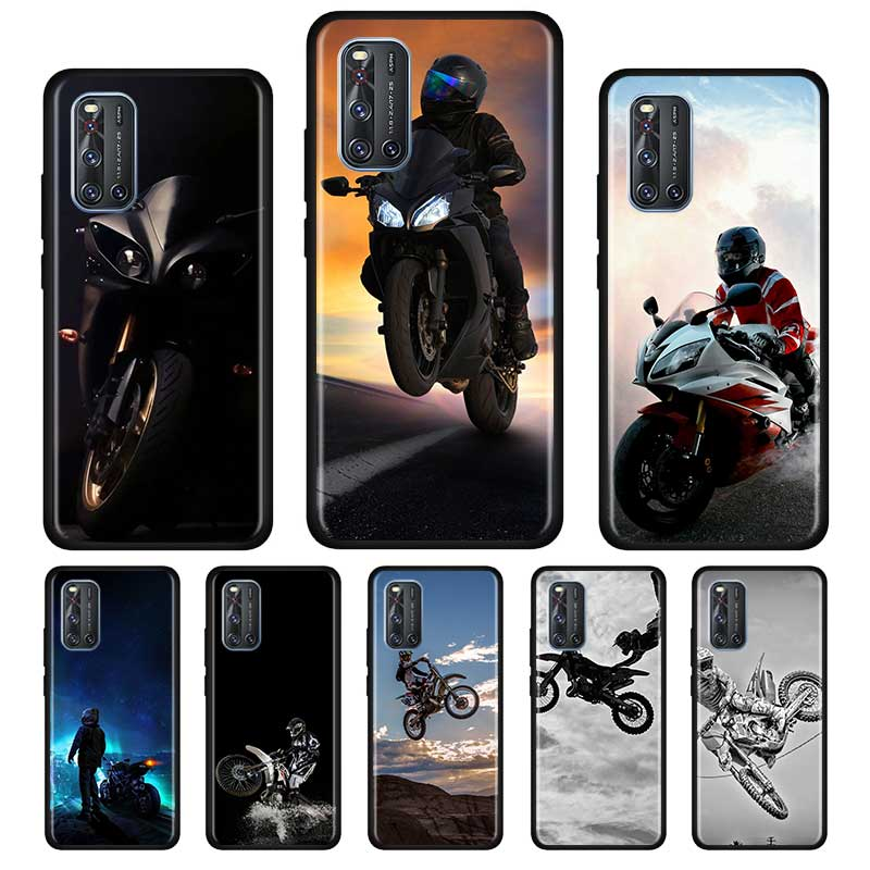 Moto Cross Motorcycle Sports Silicone Soft Case For Vivo S1 Y15 Pro Y12 Y17 Y19 Y30 Y50 V19 Z6 5G Iqoo Z1 3 5G Case Shell