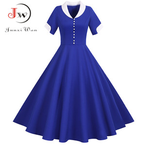 Women Summer Vintage A Line Office Dress Ladies Short Sleeve Solid Midi Elegant Fashion Casual Party Sundress Robe Plus Size