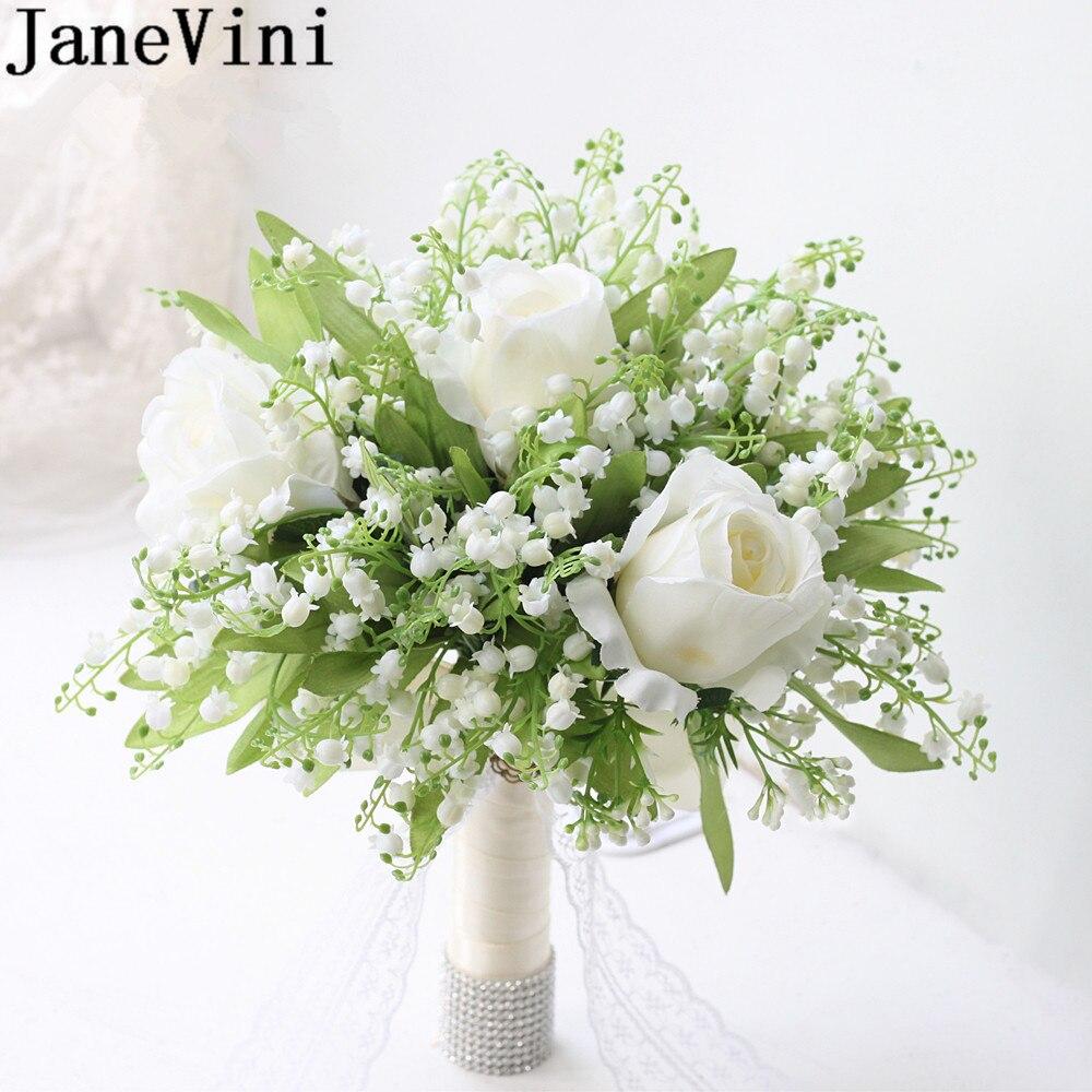 JaneVini Корея Белый Свадебный букет деревенский искусственная Лилия долины Роза зеленые листья цветок невесты ручной Букет