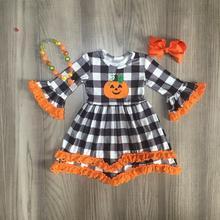 Halloween FALL/winter baby girls pumpkin plaid cotton dress children clothes boutique knee length long sleeve match accessories