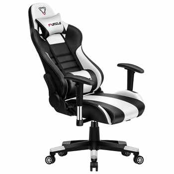 Furgle Body Huging Design Office Seat Gaming Chair White WCG Gaming Chair Engineering Nylon base Computer Chair with PU Leather - DISCOUNT ITEM  35% OFF All Category