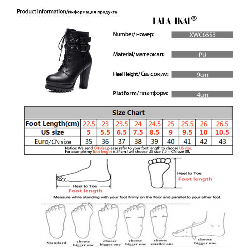LALA IKAI 2019 bayan yarım çizmeler seksi Platform pompaları kış siyah topuklu yuvarlak ayak PU deri moda bayan ayakkabıları XWC6553- 4